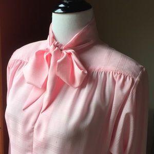Vintage Anne French romantic pink secretary blouse